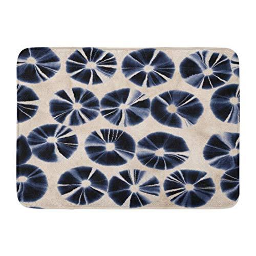 Tie-dye Dots (Rongpona Fußmatten Bad Teppiche Outdoor/Indoor Fußmatte Navy Muster abstrakt Indigo Shibori Petaled Dots Tie Dye ethnischen Badezimmer Dekor Teppich Badematte)