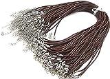 Gozillon 50 Stk. Kaffee Braun 2mm Lederschnur Mit Karabiner Verschluss für Anhänger Lederkette Halskette Lederband Kette Echtleder DIY Schmuck 45cm(18inches)