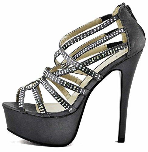 Schuhe Online Kaufen Günstig Hohe Damen Plateau Sandaletten Keilabsatz Absätze Sandelholz-Dame-Schuh-Plattform-Stilett-Bügel-Partei-Hochzeits-Größe UK 3-8 Stil 1 - Grau