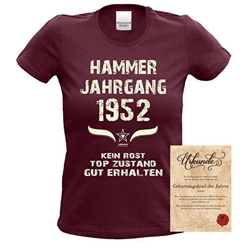 Modisches 65. Jahre Girlie Damen-Oberteil zum Geburtstag Hammer Jahrgang 1952 Trendshirt Farbe: burgund Burgund
