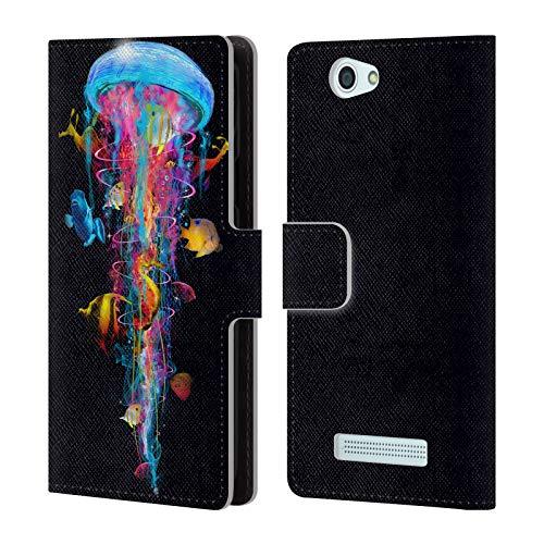 Head Case Designs Offizielle Dave Loblaw Elektrische Qualle 2 Unter Wasser Leder Brieftaschen Huelle kompatibel mit Wileyfox Spark/Plus