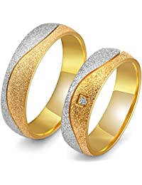 Peora Silver Gold Plated Matte Finish Engagement Wedding Couple Band Rings For Men Women
