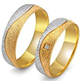 Peora Silver Gold Plated Matte Finish Engagement Wedding Couple Band Rings for Men