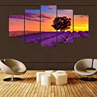 KQURNXSL Modern HD Printed Wall Art Frame Canvas Pictures 5 Pieces Romantic Lavender Field Sunset Landscape Paintings Posters Home Decor