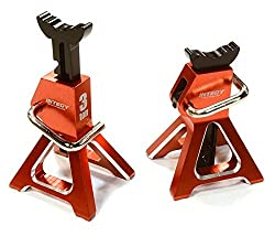 Integy Rc Hobby C26410 Red Realistic Model 3 Ton Jack Stands (2) For 1/10, 1/8 Scale & Rock Crawler
