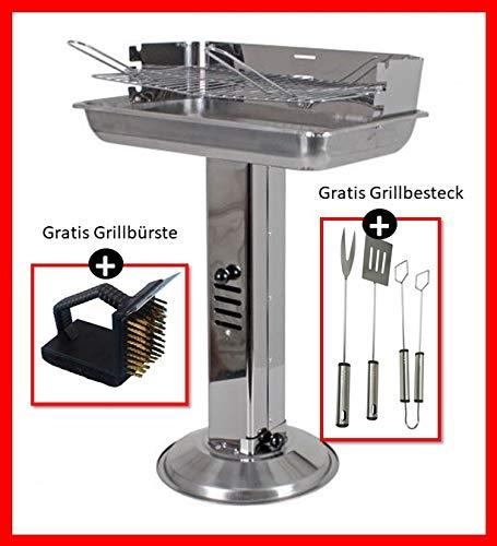 Grill Holzkohlegrill Säulengrill Edelstahl Standgrill Luftregulierung/B/H/T ca. 32 x 74 x 53cm Grillfläche 48 x 30cm inkl. Grillbesteck und Grillbürste
