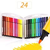 Colour Pens Washable,SAYEEC 24 Assorted Colours Eco-friendly Non-Toxic Water Colour Fine Fibre Tipped Pen With Foldable Case - Best for Adult Colouring Books/Manga/Comic/Calligraphy/Sketching