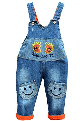 Baby Mädchen Jungen weiche Loopback Jersey Wash Denim beiläufige Latzhose