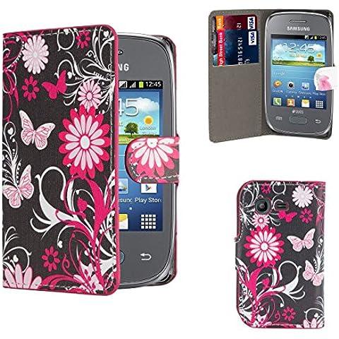 Samsung Galaxy Young 2 SM-G130 Funda Carcasa Flip de Diseño de Piel PU Tipo Libro Billetera con Tapa y Tarjetero de 32nd®, incluye protector de pantalla y paño de limpieza -