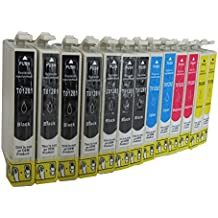12 Cartuchos de Tinta para Epson Stylus S22 SX125 SX130 SX230 SX235 SX420 SX425 SX435 SX440 SX445 / Epson Office BX305 F FW compatible incluye 6 x Negro 2 x Cian 2 x Rojo 2 x Amarillo