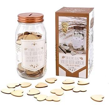 Gute Wünsche Glas mit Holzherzen Wunscherfüller Gästebuch