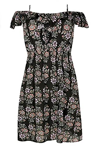 Womens Floral Frill Cold Shoulder Dress With Button Up Detail Plus Size 16 To 3 Size 26-28 Black
