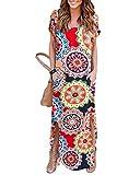 YOINS Robe Femme Manches Longues Robe Maxi Longue Chic Robe de Plage Asymétrique Robe Tunique Bohême Grand Taille, Multicolore,  46(XL)