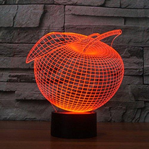Dekorativen Apple Platten (3D Apple Lampe USB Power 7 Farben Amazing Optical Illusion 3D wachsen LED Lampe Formen Kinder Schlafzimmer Nacht Licht)