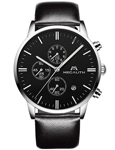 Orologio uomo orologio impermeabile cronografo data calendario lusso moda design analogico al quarzo orologio quadrante grande da polso business casuale sport cronometro con cinturino pelle nero