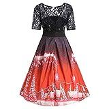 BHYDRY RüCkenfrei Vintage Kleid Weihnachtskleid Damen Schnee BäUme Gedruckt Spitze SpleißEn Party Cocktailkleid(M,Rot)