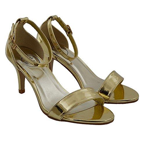 ESSEX GLAM Donna Tacco Basso Peep Toe Stiletto Sintetico Cinturino alla Caviglia Sandalo Oro metallizzato
