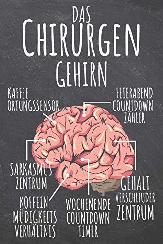 Das Chirurgen Gehirn: Chirurg Punktraster Notizbuch, Notizheft oder Schreibheft | 110  Seiten | Büro Equipment & Zubehör | Lustiges Geschenk zu Weihnachten oder - Grün Arzt Kostüm