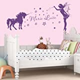 Wall Sticker with Name Unicorn Elfe, Plastic, 60 cm breit x 36 cm hoch by Livingstyle...
