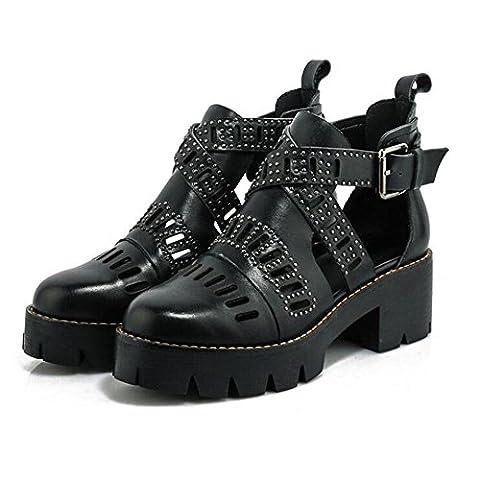 Frauen-Art- und Weisesommer-echtes Leder-Kreuz-Gurt-hohle Sandelholze , black ,