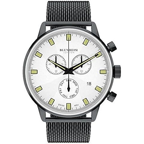 Blenheim Londres® Chronomaster Piloto Reloj Blanco Dial Gunmetal Negro Funda con correa de acero