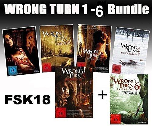 Wrong Turn 1-6 Bundle, Set, 1,2,3,4,5,6 - Alle Teile I-VI FSK18 -