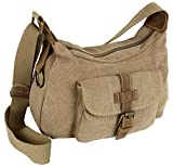 Canvas Damen Handtasche mit Echtleder-Besatz | Schultertasche Legere Umhängetasche für Frauen | Crossbody Bag Natur (4544)