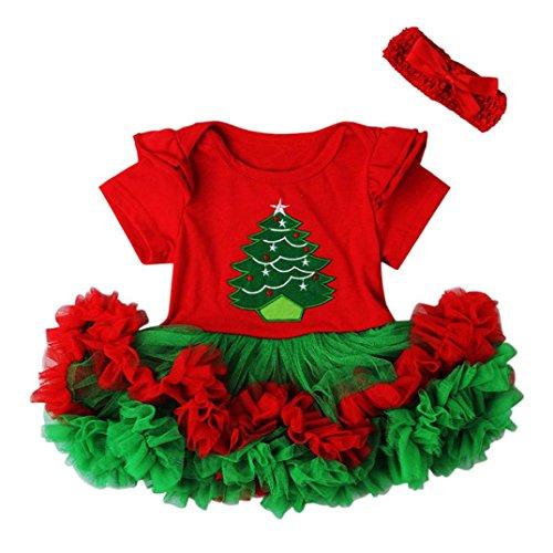 Koly_1 regolato i vestiti del merletto di Natale dei capelli principessa Dress banda (70, Rosso1)
