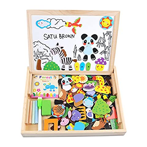 Magnetic Dry Erase Board Puzzles Games 100 Pieces Wooden Toy, SATUBROWN Double Face Jigsaw& Drawing Easel Chalkboard Popular Educational Learning Toys for