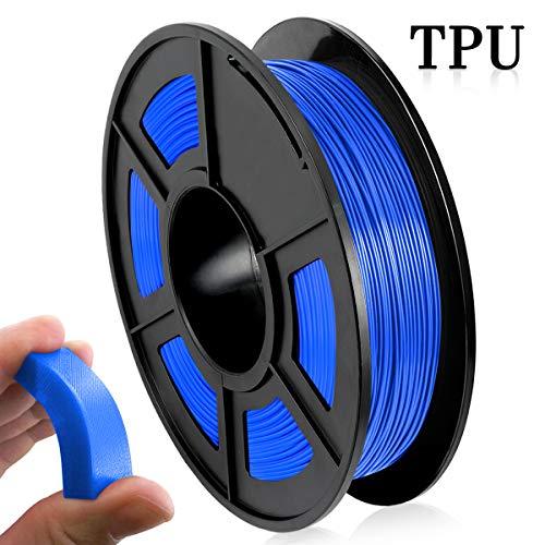 Filamento Impresora 3D TPU, Filamento TPU 1.75 mm 500G (1.1 lb), Materiales Impresión 3D Flexibles, Azul
