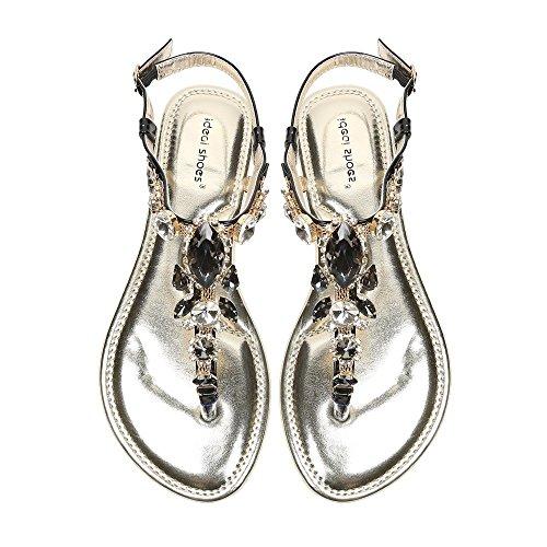 Ideal-Shoes Sandali piatti con catenina in maglia Vinciane tempestato di strass Nero (nero)