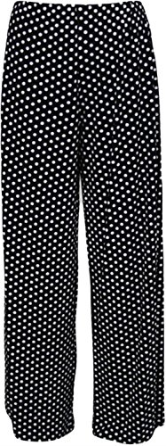 Chocolate Pickle ® New Womens Printed Plus Size Full Length Wide Leg Palazzo Pants Trousers Black Dots 52 to 54 - Womens Full Leg Pant