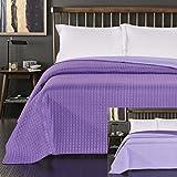 DecoKing Tagesdecke zweiseitig Bettüberwurf doppelseitig pflegeleicht Paul Polyester lila violett 240 x 260 cm