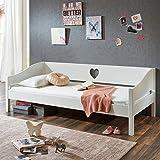 Romantisches Einzelbett LARVIK-10 aus MDF weiß lackiert, 90x200cm Liegefläche