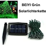 BEIYI® FL0943 Professional 200 LED Waterproof Decorative Solar Fairy Lights GREEN larger solar cell panel more efficiency water proof IP65--Garden Outdoor Christmas Lights