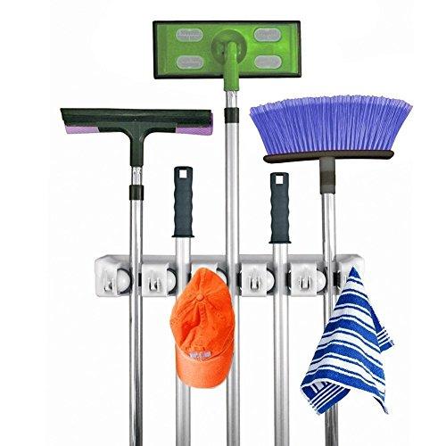 Besen Mop Halter, Mehrzweck-Garage Storage Haken Wand montiert Organizer Kleiderbügel Rack Werkzeug mit 5Position 6Haken, perfekt für Garage, Küche, Keller oder Waschküche (Tennis-ball Grip)