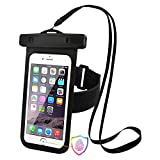 Caso de teléfono impermeable, paquetes de teléfono celular universal bolsa de bolsa seca flotante Touch ID de apoyo para el iPhone 7 Plus/iPhone 8 Plus, Smartphone de hasta 5,5 pulgadas (1 PCS BLACK)