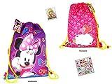 2 tlg. Minnie Mouse Set - 1x Turnbeutel/Sportbeutel - für Schule, Sport & Freizeit(43 x 33cm) + 1 x 12 Minnie Aufkleber/Sticker