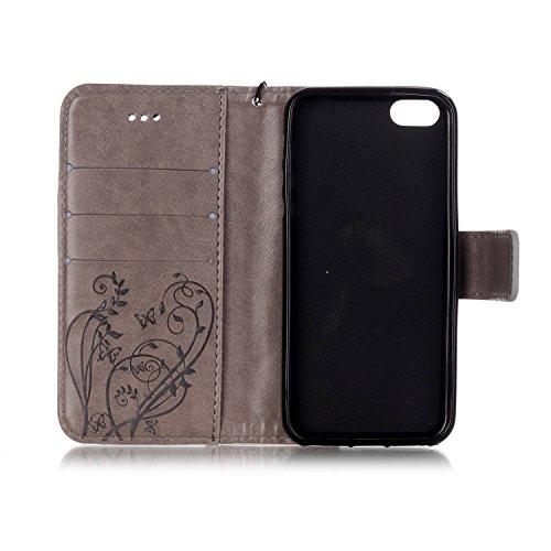 iPhone Case Cover IPhone 5 5S SE Housse Folio Flip, Housse Portefeuille Avec Trésor Et Slot Carte Premium Housse En Silicone En Cuir PU Pour iPhone 5 5S SE ( Color : Red , Size : IPhone 5S SE ) Gray