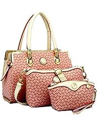 Di Grazia Women's 3 In 1 Combo Of Handbag Satchel, Sling Bag & Wrist Pouch (Pink Colour, Pink-Candy-3in1-Combo-Handbag)