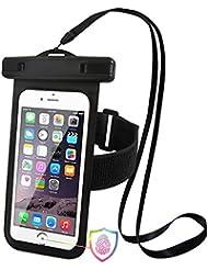 iPhone 7Plus–Funda impermeable universal para smartphone hasta 5,5pulgadas, con brazalete y apoyo Touch ID, para kayak, Surf, a la deriva, vela, natación, canotaje, bola de playa jugando, IPX8certificado Teléfono celular sellado bolsa seca, TPU construido y protector de respuesta, color negro