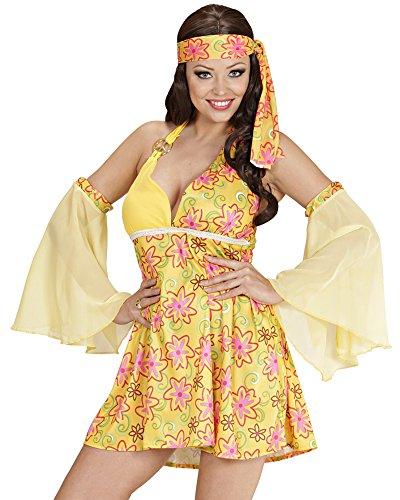 70s Girl Lina Hippie Kostüm für Damen zur 70er 80er Jahre Mottoparty - Gr. (Hippie Girl Sexy Kostüm)