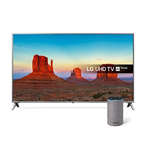 LG 75UK6500PLA 75-Inch UHD 4K HDR Smart LED TV with Freeview Play - Steel Silver/Black (2018 Model) with All-new Amazon Echo (2nd generation), Heather Grey Fabric Bundle