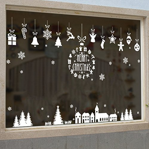 LQZ Weihnachten Fensterbild Fenstertattoo Festersticker Fensteraufkleber Fensterdeko Schaufenster Bilder Sticker Weiß Adventskranz