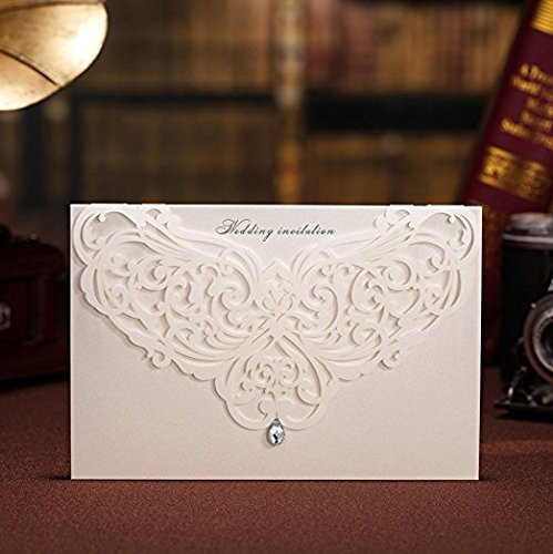 PONATIA 25 Stück rot weiß Laser Blume mit Diamant Design Hochzeit Einladung Karten mit Hohl Flipstyle Hochzeit Brautschmuck Dusche Einladung Baby Dusche Verlobung Geburtstag Graduation Einladung Karten weiß