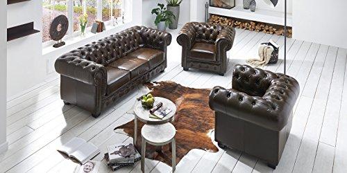 Echt Leder Sofa Chesterfield 3-Sitzer antik braun Couch Exclusive - 5