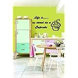 La vida es tan dulce como un Cupcake adhesivo decorativo de cocina vinilo Mural adhesivo wa733, lila, ExLarge 120cm(w) X 60cm(h)