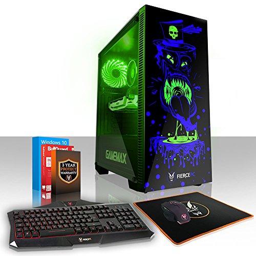 Fierce GOBBLER RGB Gaming PC Bundeln - Schnell 6 x 4.1GHz Hex-Core Intel Core i5 8500, 240GB Solid State Drive, 1TB Festplatte, 8GB von 2666MHz DDR4 RAM / Speicher, NVIDIA GeForce GTX 1050 Ti 4GB, Gigabyte H310M S2H Hauptplatine, GameMax Draco with Gobbler HD Armour RGB Computergehäuse, HDMI, USB3, Wi - Fi, Perfekt für Wettkampfspiele, Windows 10 installiert, Tastatur maus (VK/QWERTY), 3 Jahre Garantie 876794 (Gamer Dual Speicher)