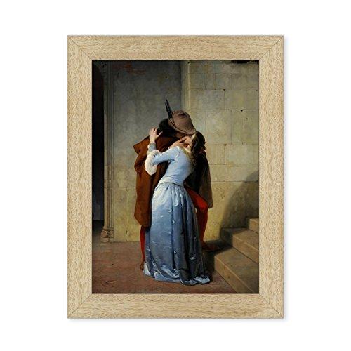 POSTER CON CORNICE - INCORNICIATO - QUADRO - ARTE - IL BACIO - THE KISS - Francesco Hayez - Pinacoteca di Brera - 30x40cm - Stile Tradizionale Legno Naturale - (cod.116)