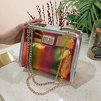 hahashop2 Damen Handtasche Schultertasche Tasche UmhäNgetasche Rucksack für Shopper Bag - Gelee Transparente Tasche Sommer Kleine Quadratische Tasche Super Feuer Kette UmhäNgetasche